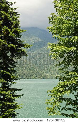 Alpine lake Ritsa in Abkhazia in the Caucasus mountains