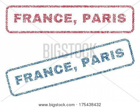 France, Paris text textile seal stamp watermarks. Blue, red fabric vectorized texture. Vector caption inside rounded rectangular shape. Rubber sign with fiber textile structure.