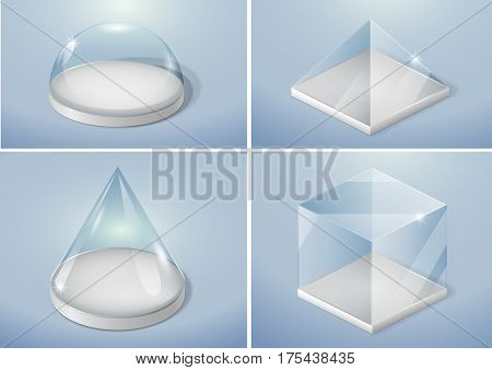 Set of glass forms of a pyramid a hemisphere and a cube. Vector graphics with transparency effect
