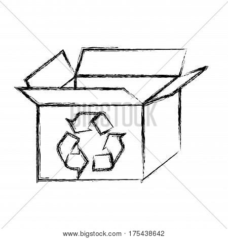 blurred silhouette carton box with recycling symbol vector illustration