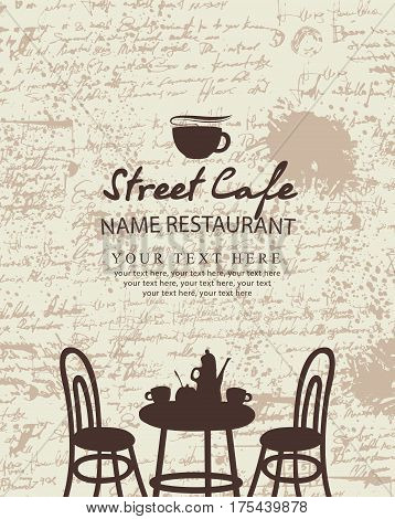 Banner for a street cafe with furniture on the background of the manuscript with blots