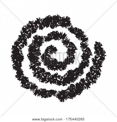 Spiral symbol hand painted crayon. Concentric curvy shape, swirling swash isolated on white background. Movement, endless time, cycle concept. Decorative graphic design element. Vector illustration