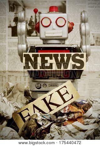 retro news robot concept image