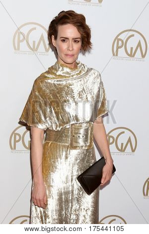 LOS ANGELES - JAN 28:  Sarah Paulson at the 2017 Producers Guild Awards  at Beverly Hilton Hotel on January 28, 2017 in Beverly Hills, CA