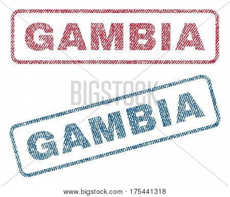 Gambia text textile seal stamp watermarks. Blue, red fabric vectorized texture. Vector tag inside rounded rectangular shape. Rubber emblem with fiber textile structure.