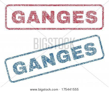 Ganges text textile seal stamp watermarks. Blue, red fabric vectorized texture. Vector tag inside rounded rectangular shape. Rubber emblem with fiber textile structure.