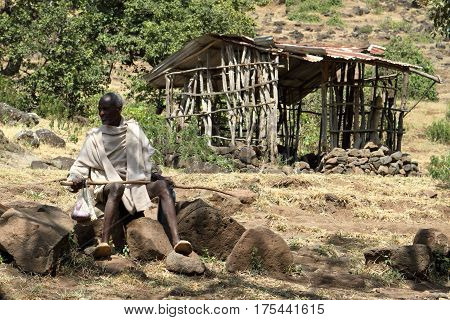 A poor Shepherds and farmers in Ethiopia