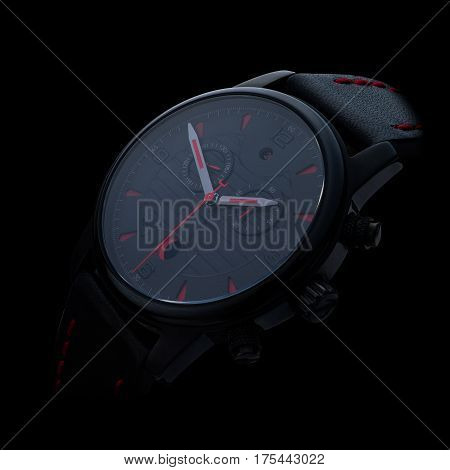 elegant business wristwatch with red on black background
