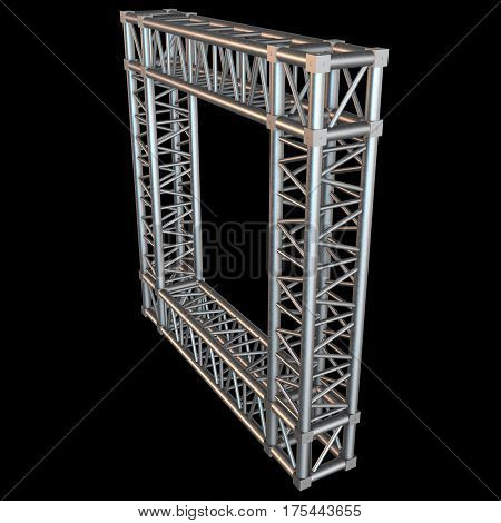 Steel truss girder frame or window element. 3d render on black