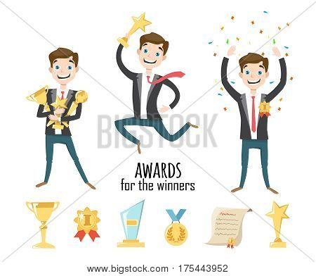 Set of vector icons and characters. Award icons flat set of trophy medal winner prize champion cup