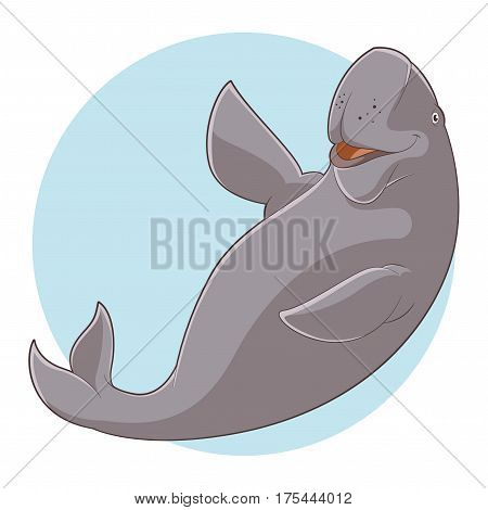 Vector image of the Cartoon Smiling Dugong