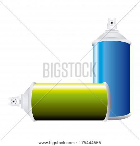 colorful set aerosol spray bottle vector illustration