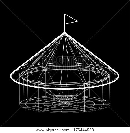 Circus tent in wireframe form. Vector illustration on black background