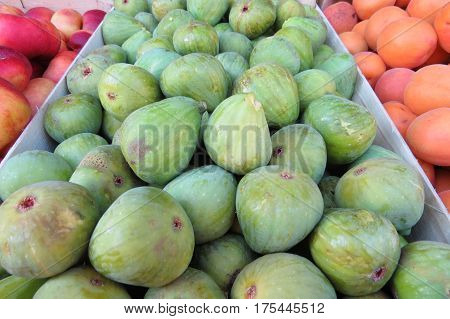 Fresh green figs at the market in Bar-city, Montenegro