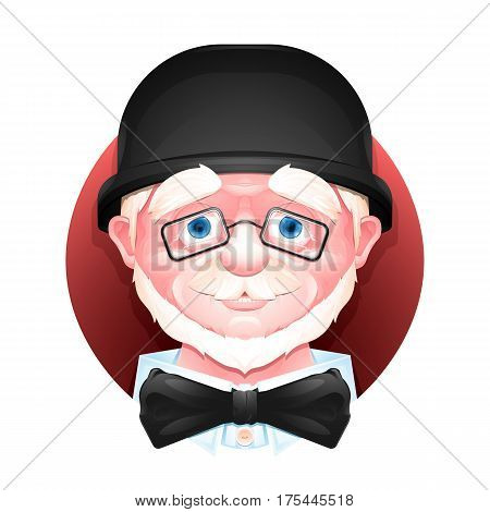 Close up portrait of a charming aged man in a bowler hat, bow tie and glasses.