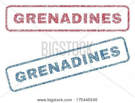 Grenadines text textile seal stamp watermarks. Blue, red fabric vectorized texture. Vector tag inside rounded rectangular banner. Rubber sign with fiber textile structure.