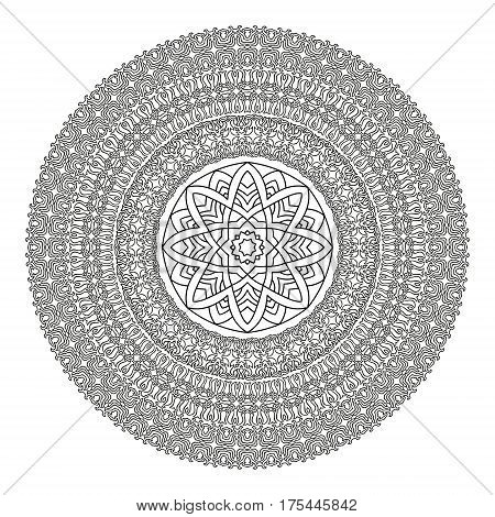 Flower Mandala for coloring book. Black and white ethnic henna pattern.Vintage decorative elements.Islam Arabic Indian moroccan turkish pakistan chinese ottoman motifs