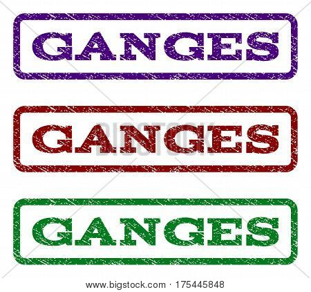 Ganges watermark stamp. Text caption inside rounded rectangle with grunge design style. Vector variants are indigo blue, red, green ink colors. Rubber seal stamp with scratched texture.