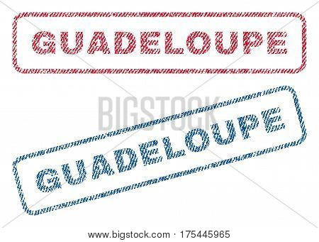 Guadeloupe text textile seal stamp watermarks. Blue, red fabric vectorized texture. Vector caption inside rounded rectangular banner. Rubber sticker with fiber textile structure.