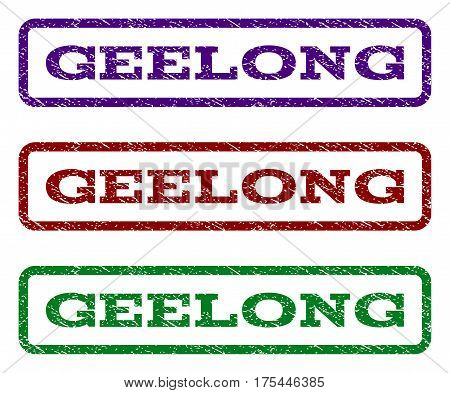 Geelong watermark stamp. Text tag inside rounded rectangle with grunge design style. Vector variants are indigo blue, red, green ink colors. Rubber seal stamp with dust texture.