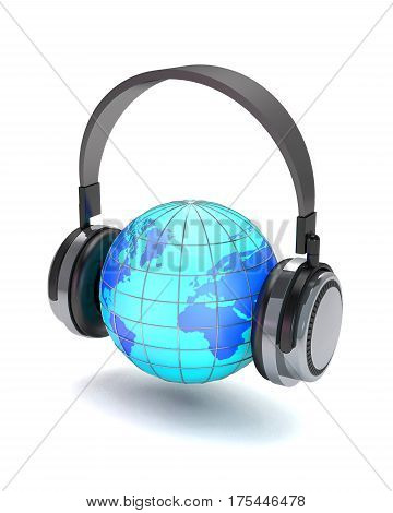 Headphones and globe on white background (3d illustration).