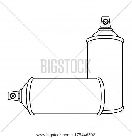 contour set aerosol spray bottle icon flat vector illustration