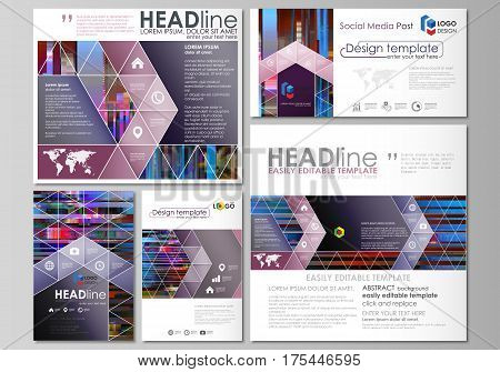 Social media posts set. Business templates. Abstract design vector template, layouts in popular formats. Glitched background made of colorful pixel mosaic. Digital decay, signal error, television fail. Trendy glitch backdrop.