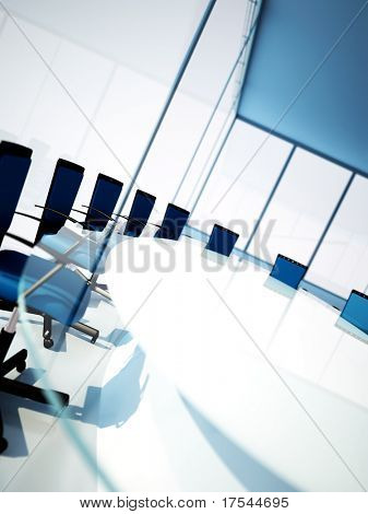 Empty meeting room with rounded table and light from windows