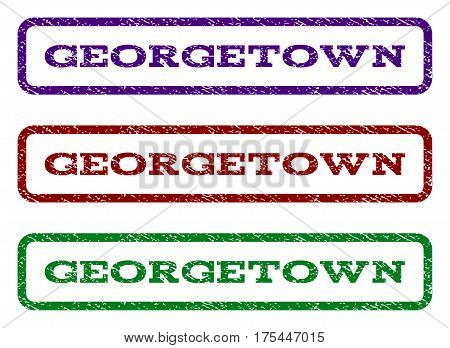 Georgetown watermark stamp. Text tag inside rounded rectangle frame with grunge design style. Vector variants are indigo blue, red, green ink colors. Rubber seal stamp with scratched texture.