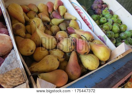 Fresh yellow pears at the market in Bar-city, Montenegro