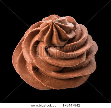 Chocolate frozen yogurt on black background with clipping path. Whipped cream. Mascarpone. Macro. Top view.