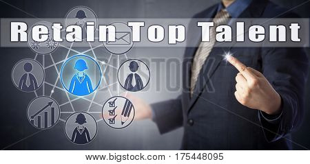 Male corporate employer in blue shirt and business suit is warning to Retain Top Talent. Motivational call to action human resources development strategy and talent generation management metaphor.