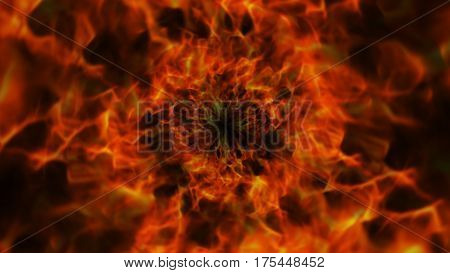 Fiery Ring, Flames Background, Nature, Computer Graphics Illustration