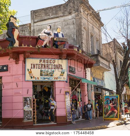 Buenos Aires Argentina - November 5 2016: Tourist and market in street of Caminito in District Boca of Buenos Aires