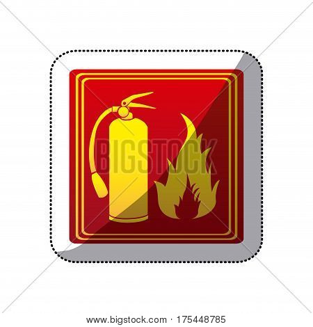 sticker red color signal silhouette fire flame and extinguisher icon vector illustration