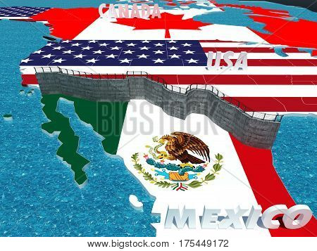 Symbol of Border Wall between Mexico and United States as president promised