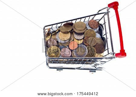 Finance ConceptualCoins in shopping trolley isolated on white background. Copy space for text.