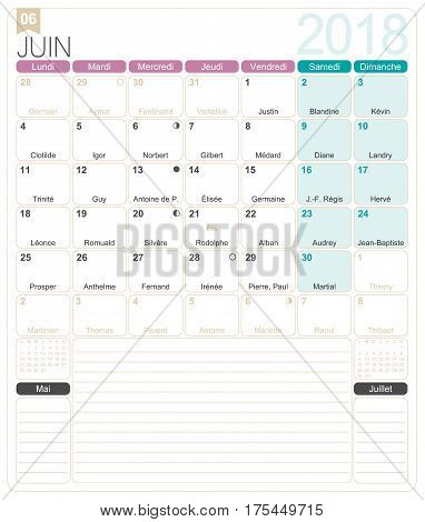 June 2018, French printable monthly calendar template, including name days, lunar phases and official holidays.