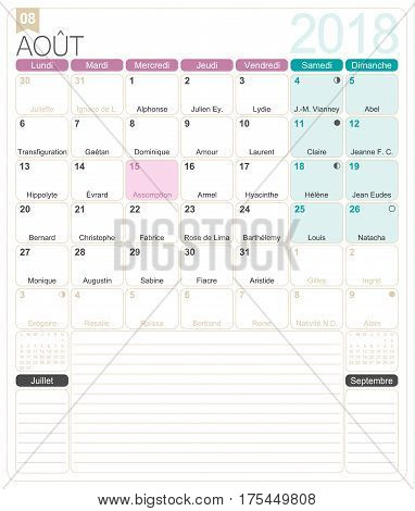 August 2018, French printable monthly calendar template, including name days, lunar phases and official holidays.