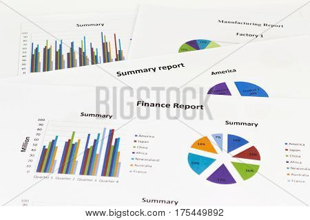 Finance report Graph Calculations savings finances and economy concept.