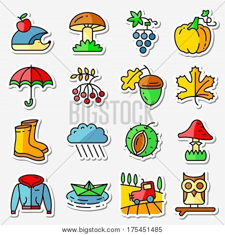 Fall season icons stickers set (thin and simply line style). Web pictograms with autumn and crop objects as mushrooms rainy cloud paper boat in a pool field landscape with tractor leaves rowan berries grape chestnut acorn gumboots owl and hedgehog pumpkin