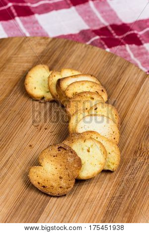 Saulty Crispy Little Toast Breads On The Wooden Board