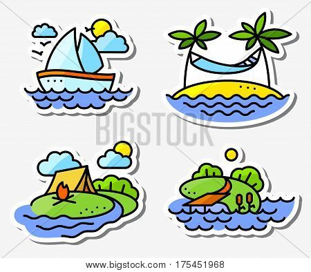 Summer activity icons set in simply thin style with fishing yachting relaxing and camping. Yach on the waves Fire and camping tent island with palms and hummock fishing pool and pier. Vector illustration