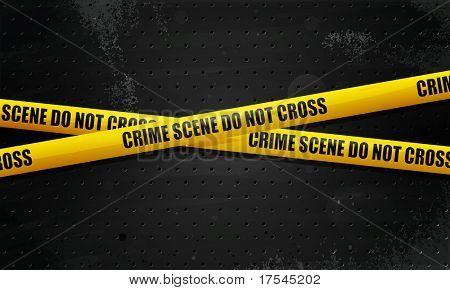 Crime Scene Tape on black grunge background. transparency, eps10