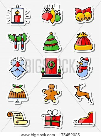 Christmas and New Year icons set. Thin simply line stickers. Minimalistic design in bright colors. Winter holidays decorations and characters
