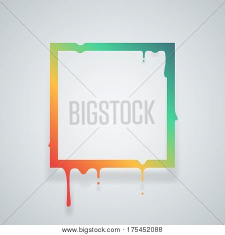Flowing art flux drop square leak abstract design template vector illustration