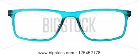 green eye glasses isolated on white background