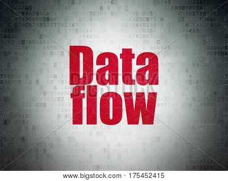 Information concept: Painted red word Data Flow on Digital Data Paper background