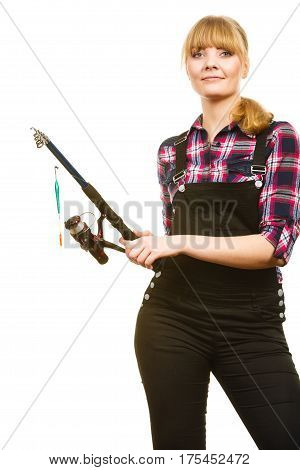 Similing Woman Wearing Check Shirt Holding Fishing Rod