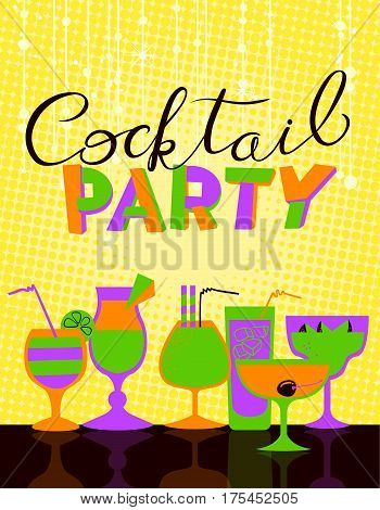 Cocktail party poster. Background for night club or alcohol bar menu. Cocktail party lettering in cute style. Backdrop with tinsel and lights. Vector illustration with cocktail glasses